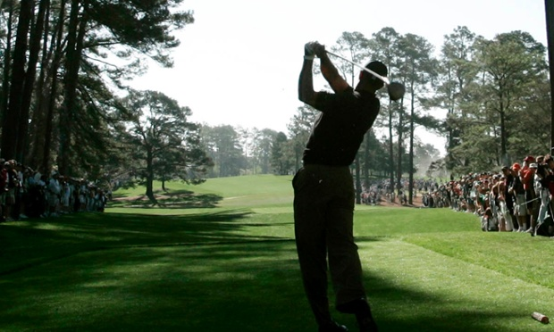 Tiger teeing off, in full sight/fear of the Eisenhower Tree, back in 2005.