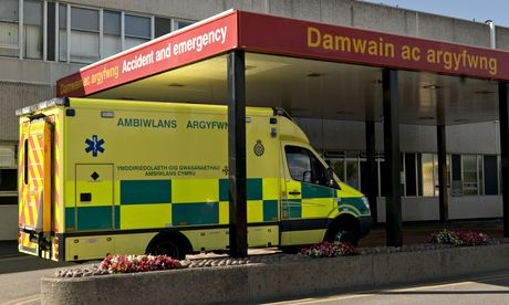 An ambulance outside Glan Clwyd hospital in Bodelwyddan, north Wales
