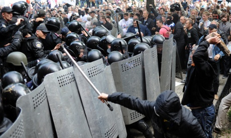 Pro-Russian activists clash with police today in front of the regional administration building in Donetsk, Ukraine.