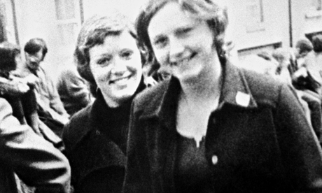 Dolours Price, left, and her sister Marian, at a civil rights demonstration outside Belfast.