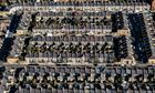 An aerial view of terraced houses in Kensington, west London