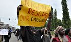 A mother cries out during a demonstration by parents of the kidnapped schoolgirls in Nigeria