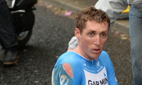 Dan Martin after crashing out of Stage 1 of the Giro D'Italia