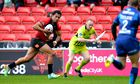 Salford Red Devils' Francis Meli runs in a try v Hull KR in Super League.