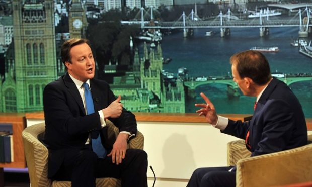 David Cameron being interviewed on the Andrew Marr Show in 2011