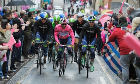 Overall leader Michael Matthews of Australia, in the pink jersey, at the start of the third stage of the Giro d'Italia.