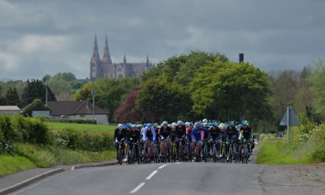 A pack of riders near Armagh at the beginning of the third stage of Giro d'Italia, from Armagh to Dublin.