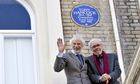 Tony Hancock blue plaque unveiled by Ray Galton (left) and Alan Simpson
