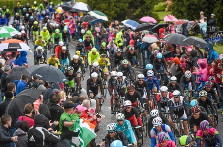 The peloton in the village of Camlough during stage three of the Giro d'Italia 2014.