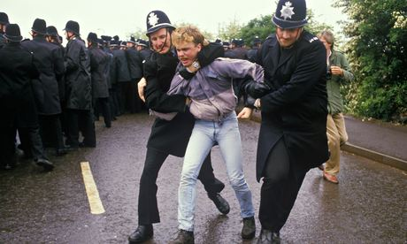 A miner is arrested at Orgreave in 1984