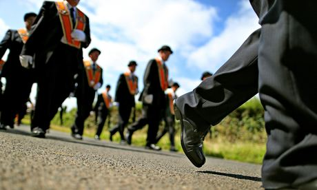 Members of Orange Order marching