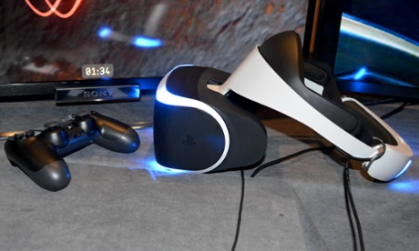 The headset in use for Sony's Project Morpheus sitting on a desk