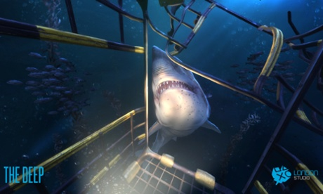 Underwater, a shark approaches the user, who is in a diving cage, in a scene from a PlayStation VR game called The Deep