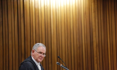 Defence counsel Barry Roux during the trial of Oscar Pistorius on Monday.