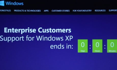 A screen showing the countdown to the end of support for Windows XP