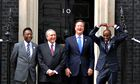Mo Farah at No10 Downing Street with, from left, Pele, Michel Temer and prime minster David Cameron