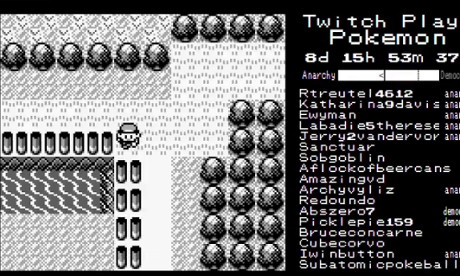 A black-and-white image from the game Twitch Plays Pokémon