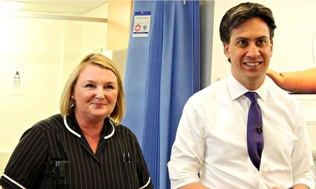 Ed Miliband with a staff member at Leighton hospital in Crewe