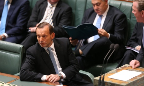 The Prime Minister Tony Abbott during question time in the House of Representatives this afternoon.