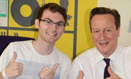 Stephen Sutton, who passed away in his sleep on Wednesday, with prime minister David Cameron.