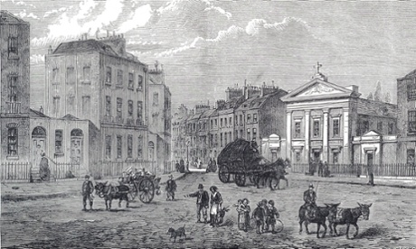 The Polygon of Somers Town, near Euston, from an 18th century etching. The building was demolished in the 1890s and a modern housing estate occupies the site.