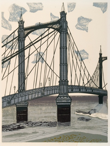 The Albert Bridge, 1966, linocut on paper.