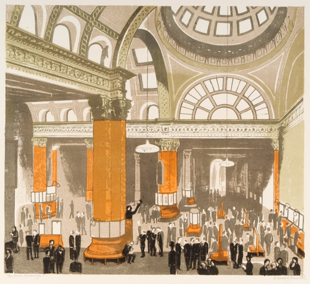 The Stock Exchange, 1963, colour autolithograph.