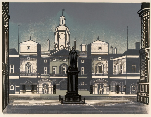 Nine London Monuments – The Horse Guards, 1966, linocut.