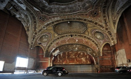 Detroit's once glorious and now decrepit Michigan Theatre has been saved from the wrecking ball by being transformed into a car park.