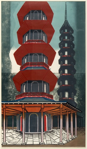 The Pagoda, Kew Gardens, 1963, linocut