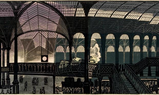 Liverpool Street Station, 1960, linocut.
