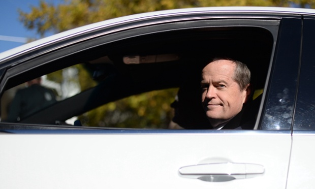 Opposition Leader Bill Shorten leaves after a press conference at Canberra hospital.
