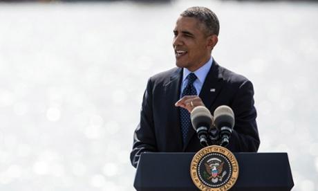 US president Barack Obama delivers remarks on infrastructure in the US