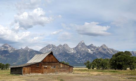 The old Mormon barn near Jackson Hole, Grand Teton park, Wyoming