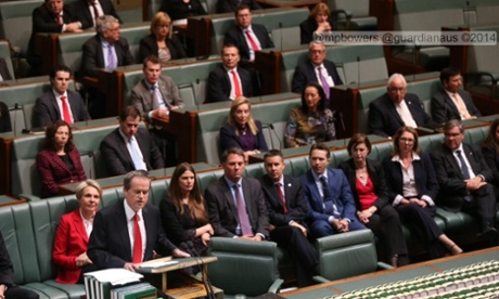 The Opposition has taken up the red theme. Photograph: Mike Bowers.