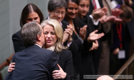 Bill Shorten kisses his wife Chloe after his budget reply speech.