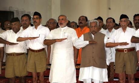 In this photograph taken in September 2009, Narenda Modi, then chief minister of the western Indian state of Gujarat, attends a Rashtriya Swayamsevak Sangh (RSS) gathering at Tria Mandir in Adalaj, near Ahmedabad.