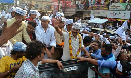 Delhi's former chief minister and Aam Aadmi (Common Man) Party (AAP) chief Arvind Kejriwal waves to his supporters during an election campaign rally in the northern Indian city of Varanasi last week.