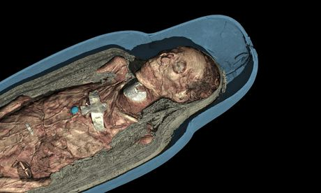 CT scan 3D visualisation of the mummified remains of Tayesmutengebtiu