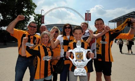 Hull City fans on Wembley Way.
