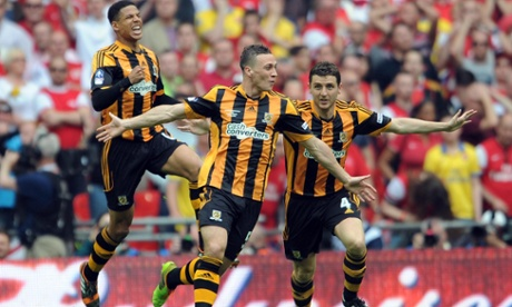 James Chester and Hull City celebrate.
