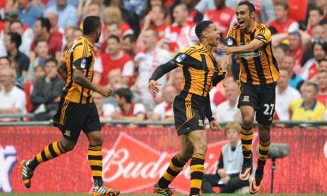 Curtis Davies celebrates Hull's second goal.