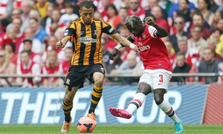 Hull City's Liam Rosenior in action with Arsenal's Bacary Sagna.