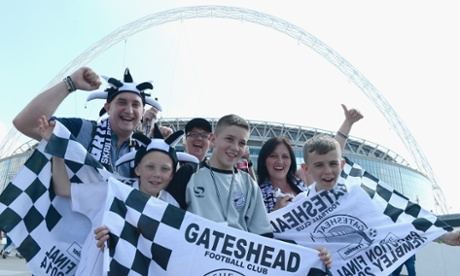 ...and Gateshead supporters on Wembley Way.