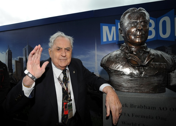 Jack Brabham attending a statue unveiling at the Australian Grand Prix