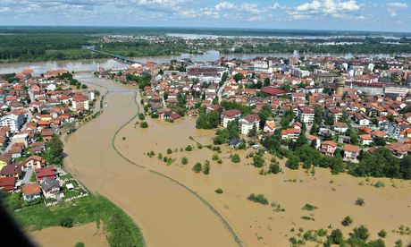 Aerial view of flooded area along the Sava river 120 miles north of the Bosnian capital, Sarajevo.