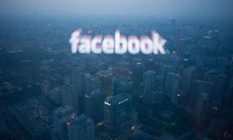 facebook logo on a window