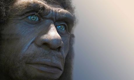 Recreation of the face of a Neanderthal