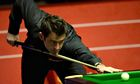Ronnie O'Sullivan plays a shot in his semi-final against Barry Hawkins at the world championship