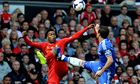 Daniel Sturridge of Liverpool competes for possession against Chelsea's Frank Lampard
